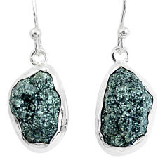 15.02cts natural green seraphinite in quartz 925 silver dangle earrings p50392