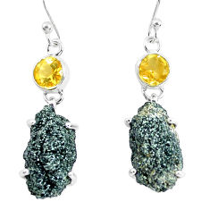 19.29cts natural green seraphinite in quartz 925 silver dangle earrings p50394