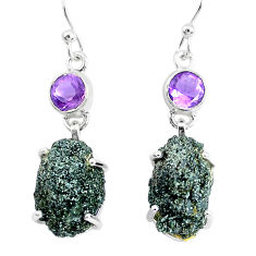 19.68cts natural green seraphinite in quartz 925 silver dangle earrings p50395