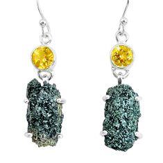 21.53cts natural green seraphinite in quartz 925 silver dangle earrings p50397