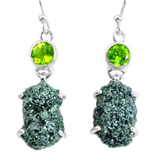 22.48cts natural green seraphinite in quartz 925 silver dangle earrings p50398