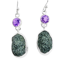 22.30cts natural green seraphinite in quartz 925 silver dangle earrings p50400