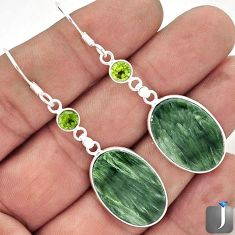 19.81cts NATURAL GREEN SERAPHINITE PERIDOT 925 SILVER DANGLE EARRINGS E92367