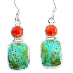 14.26cts natural green turquoise tibetan coral 925 silver dangle earrings d31514
