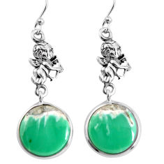 15.34cts natural green variscite 925 silver cupid angel wings earrings p91821