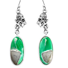 15.93cts natural green variscite 925 silver cupid angel wings earrings p91823