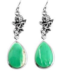 18.14cts natural green variscite 925 silver cupid angel wings earrings p91825