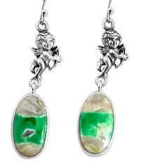 14.73cts natural green variscite 925 silver cupid angel wings earrings p91827
