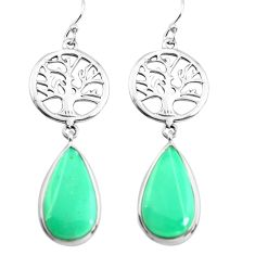 12.58cts natural green variscite 925 silver tree of life earrings p72519