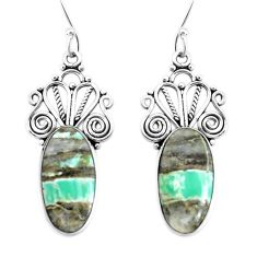 12.83cts natural green variscite 925 sterling silver dangle earrings p34871