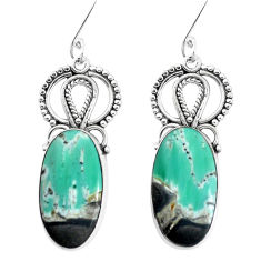 13.55cts natural green variscite 925 sterling silver dangle earrings p34930