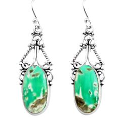 14.33cts natural green variscite 925 sterling silver dangle earrings p72627