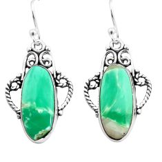 13.09cts natural green variscite 925 sterling silver dangle earrings p72629