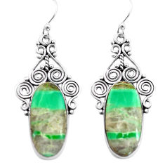 18.47cts natural green variscite 925 sterling silver dangle earrings p72630