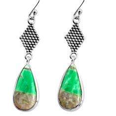 11.26cts natural green variscite 925 sterling silver dangle earrings p91822
