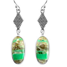 13.69cts natural green variscite 925 sterling silver dangle earrings p91826
