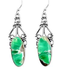 12.96cts natural green variscite 925 sterling silver dangle earrings p91921