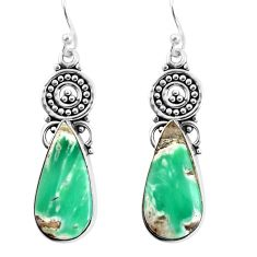 13.77cts natural green variscite 925 sterling silver dangle earrings p91922