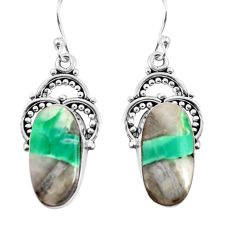 12.96cts natural green variscite 925 sterling silver dangle earrings p91923