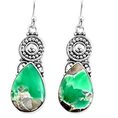 14.90cts natural green variscite 925 sterling silver dangle earrings p91925
