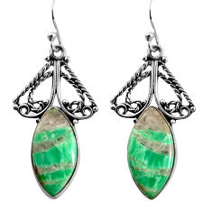 15.85cts natural green variscite 925 sterling silver dangle earrings p91926