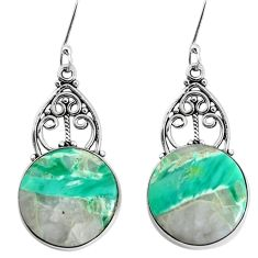 16.70cts natural green variscite 925 sterling silver earrings jewelry p34972