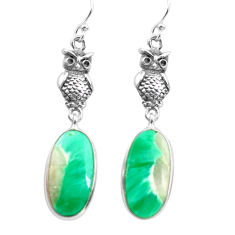 13.70cts natural green variscite 925 sterling silver owl earrings jewelry p72517