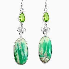 18.39cts natural green variscite peridot 925 silver dangle earrings p78630