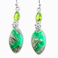 17.72cts natural green variscite peridot 925 silver dangle earrings p78631