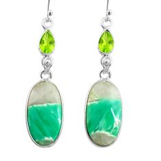 17.35cts natural green variscite peridot 925 silver dangle earrings p78632