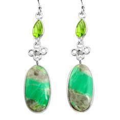 17.90cts natural green variscite peridot 925 silver dangle earrings p78634