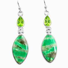 17.32cts natural green variscite peridot 925 silver dangle earrings p78636