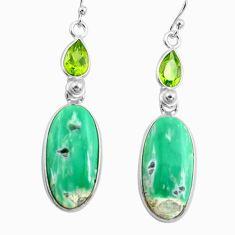 17.90cts natural green variscite peridot 925 silver dangle earrings p78637