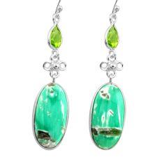 19.09cts natural green variscite peridot 925 silver dangle earrings p78639