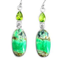 16.68cts natural green variscite peridot 925 silver dangle earrings p78640