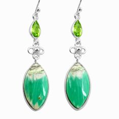 18.39cts natural green variscite peridot 925 silver earrings jewelry p78635