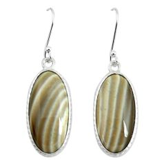 16.04cts natural grey striped flint ohio 925 silver dangle earrings p50812