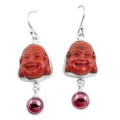 17.57cts natural jasper red garnet 925 silver buddha charm earrings p78122