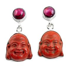 17.22cts natural jasper red garnet 925 silver buddha charm earrings p78139
