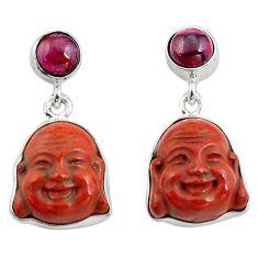 17.57cts natural jasper red garnet 925 silver buddha charm earrings p78140