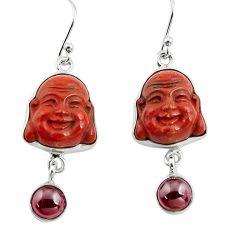 17.22cts natural jasper red garnet 925 silver buddha charm earrings p78147