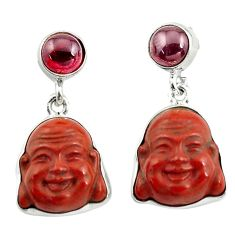 17.22cts natural jasper red garnet 925 silver buddha charm earrings p78159
