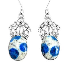 13.77cts natural k2 blue (azurite in quartz) 925 silver dangle earrings p34894