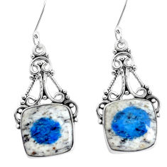 12.83cts natural k2 blue (azurite in quartz) 925 silver dangle earrings p34945