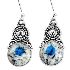 12.28cts natural k2 blue (azurite in quartz) 925 silver dangle earrings p34983