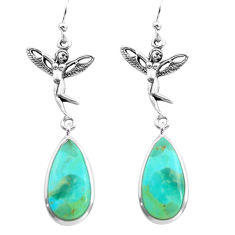 14.23cts natural kingman turquoise 925 silver angel wings fairy earrings p72539