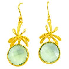 20.33cts natural lemon topaz 925 sterling silver 14k gold dangle earrings p50014