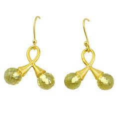 8.87cts natural lemon topaz 925 sterling silver 14k gold dangle earrings p58486