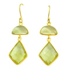 14.91cts natural lemon topaz 925 sterling silver 14k gold dangle earrings p58505