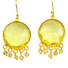 27.17cts natural lemon topaz 925 sterling silver 14k gold dangle earrings p75686